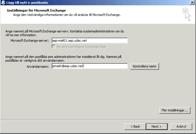 Outlook 2007 Servernamn